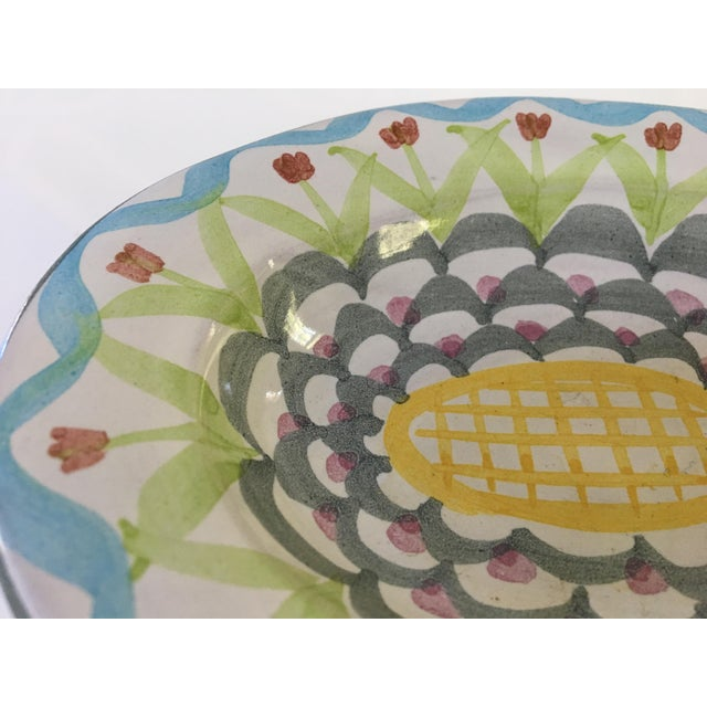 White Vintage MacKenzie-Childs Hand Painted Dish / Catchall in King Ferry Pattern For Sale - Image 8 of 11