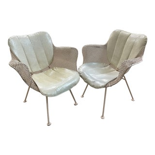 Russell Woodard Sculptura Iron Mesh Lounge Armchairs + Pads - a Pair For Sale