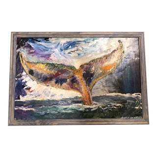 """Whale Tale Angel 30""""x20"""" Original Oil Painting Framed"""
