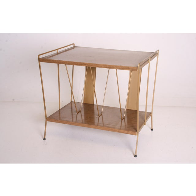 Vintage Brown Metal Record Rack Stand For Sale - Image 4 of 11