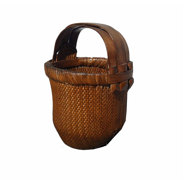 1930s Antique Chinese Hand-Woven Basket For Sale - Image 5 of 5