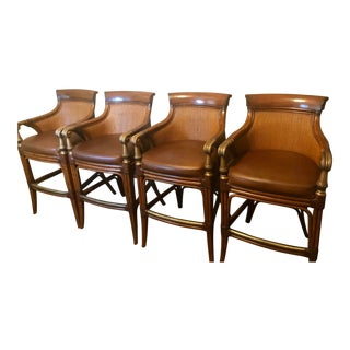 Traditional Ethan Allen Wood & Leather Bar Stools - Set of 4 For Sale