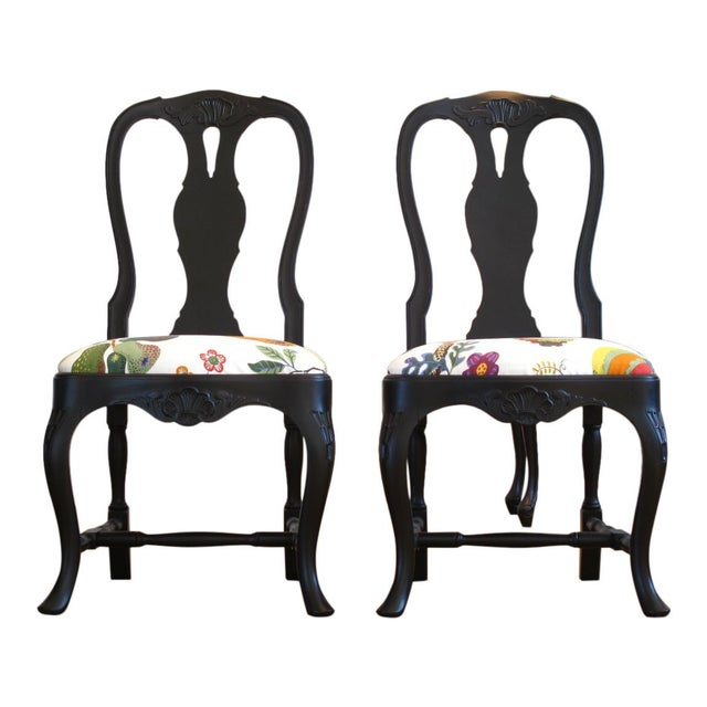 Classic Rococo Chairs from the 1930's/40's reconditioned in matte black with hand carved original detailed. Upholstered in...
