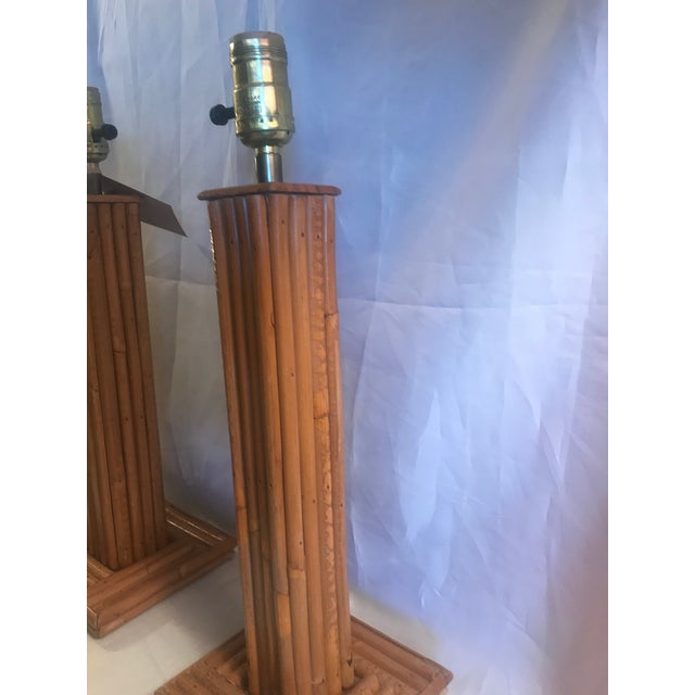 Vintage Pencil Bamboo Table Lamps - a Pair For Sale - Image 4 of 8