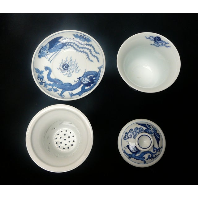 Asian Chinese Blue & White Porcelain Dragon Tea Set For Sale - Image 3 of 4