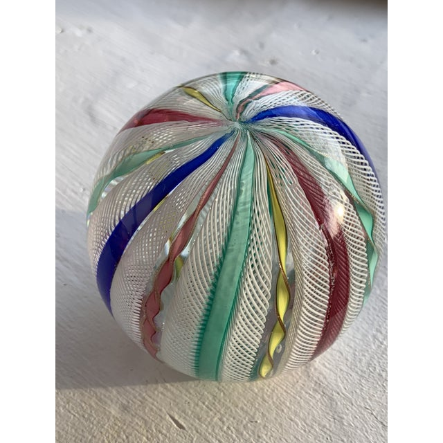 Latticino Glass Italian Paperweight For Sale - Image 4 of 11