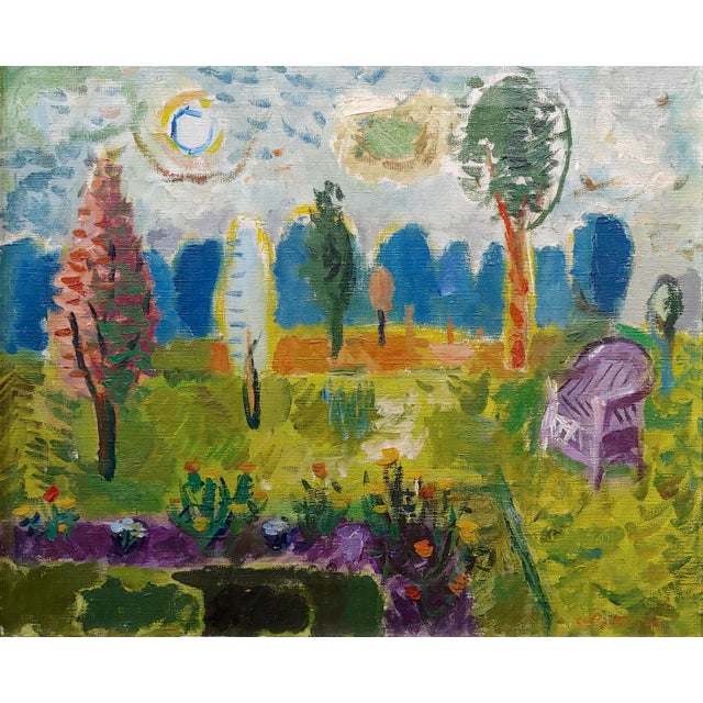Abbott Pattison -The Purple Chair in a Garden Landscape - Oil Painting For Sale - Image 4 of 10
