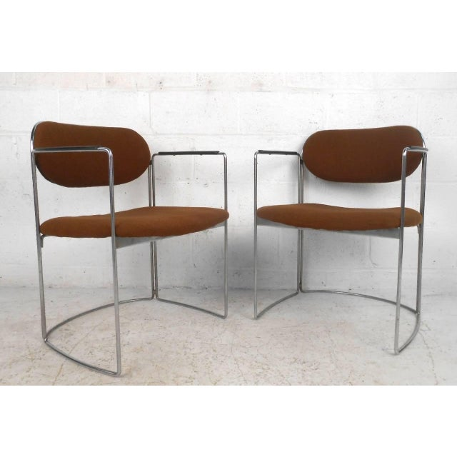 Mid-Century Chrome & Upholstery Office Armchairs - Set of 7 - Image 5 of 10