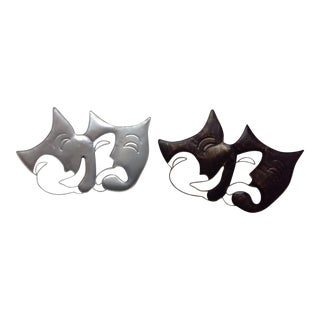 Artisan House Metal Wall Art Drama Masks - A Pair