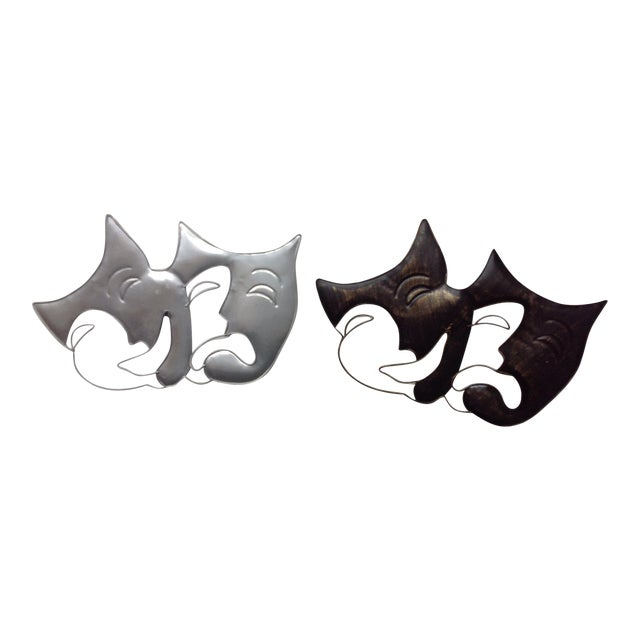 Artisan House Metal Wall Art Drama Masks - A Pair   Chairish