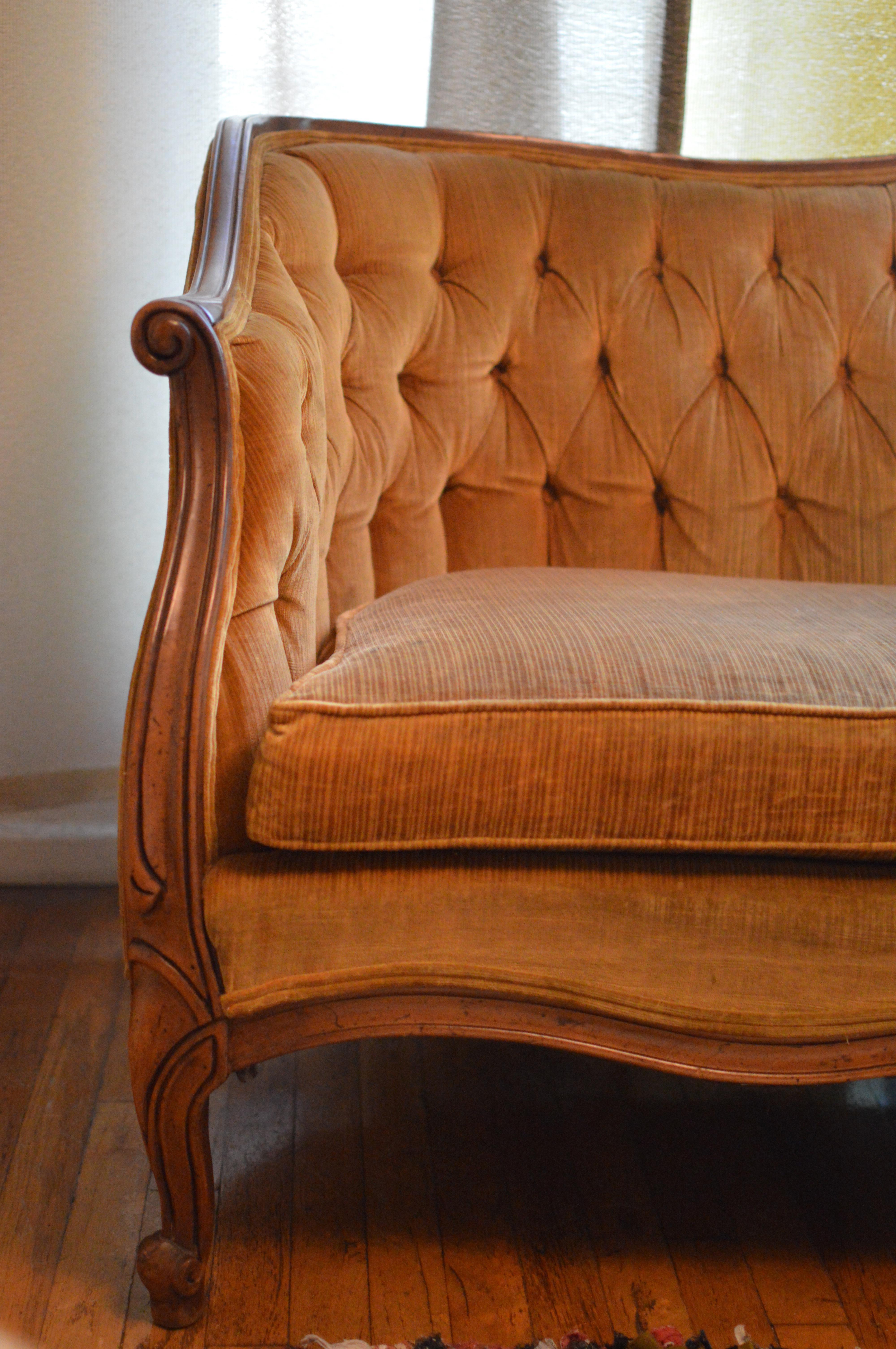 Vintage Tufted Velvet Louis Xv Canape Sofa Chairish