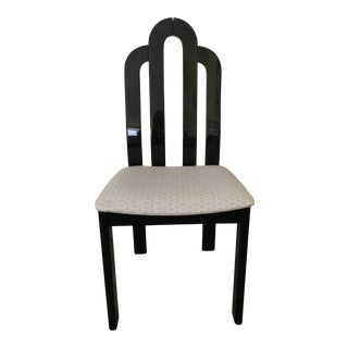 Deco Black Lacquer Desk or Side Chair With Upholstered Seat For Sale