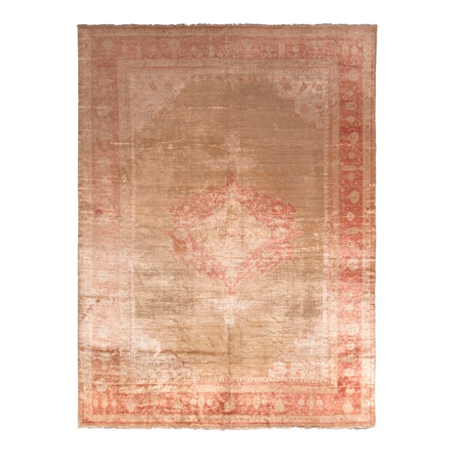 Antique Oushak Rug Red and Gold Angora-Wool Medallion Pattern For Sale