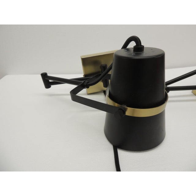 Pair of Mid Century Modern Style Wall Swing on Lamps For Sale - Image 4 of 12