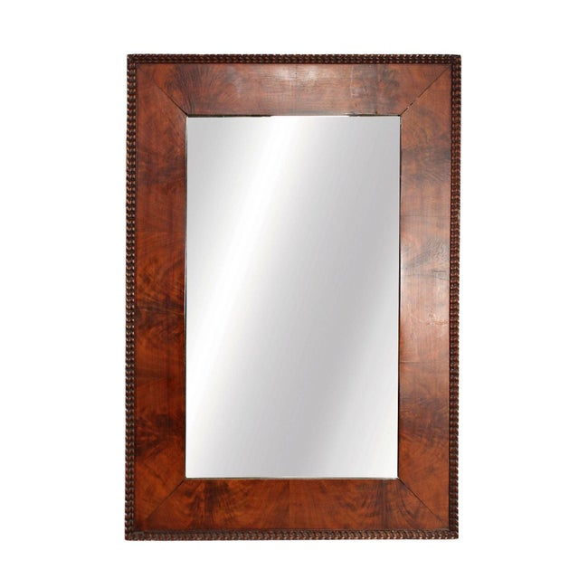 1970s 1970's Red Burl Wood Rectangular Mirror With Beaded Trim in the Manner of Milo Baughman for Thayer Coggin For Sale - Image 5 of 5