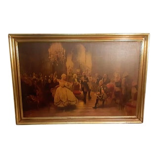 Antique French Court Scene Dance Recital Painting by Georg Schobel, Framed For Sale