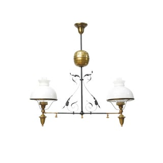 French Iron & Brass Oil Light Fixture For Sale