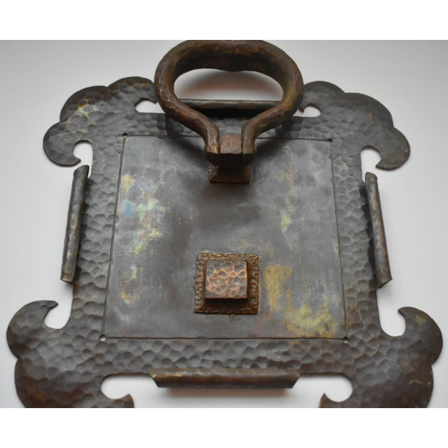 """Large Brass Hammered Arts and Crafts Door Knocker. Backplate Measurements 10.5"""" height x 10.375"""" width x 2"""" depth Door..."""