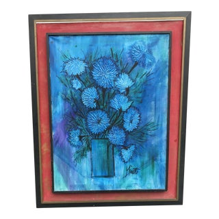Vintage Mid Century Modern Oil Painting of Blue Mums For Sale