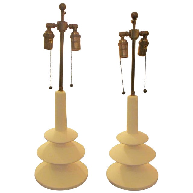 Custom Pair of French Plaster Lamps in the Manner of Alberto Giacometti For Sale