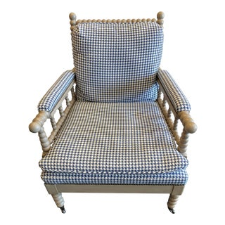 New - Vanguard Bell Spool Chair No. 4502-Ch With Blue Houndstooth Upholstery For Sale