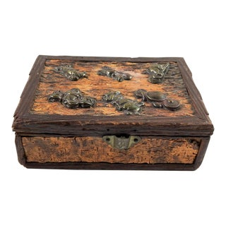 Antique Bark Box With Brass Embellishments For Sale