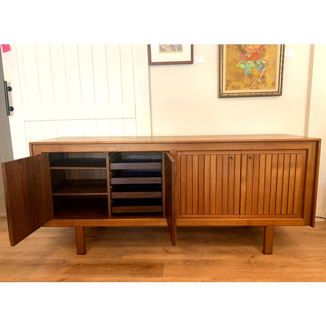 Mid-Century Modern 1960s Teak Norwegian Credenza With Key For Sale - Image 3 of 13