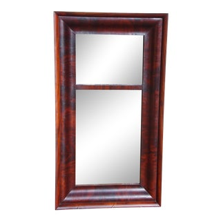 Antique 19th C. American Empire Flame Mahogany Framed Ogee Wall Mirror For Sale