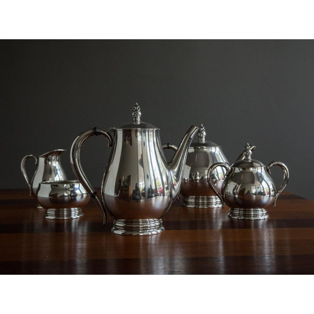 "Metal ""Royal Danish"" Sterling Coffee and Tea Service by International Silver - 5 Pc. Set For Sale - Image 7 of 7"
