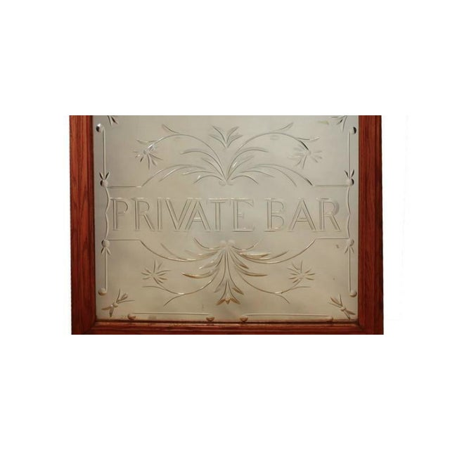 "Vintage English ""Private Bar"" glass sign."