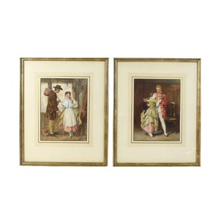 "1860s Antique Original 'The Farewell"" and 'The Return' Framed Watercolor Paintings by John Absolon - Set of 2 For Sale"
