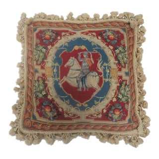 Knight on Horseback Needlepoint Pillow For Sale