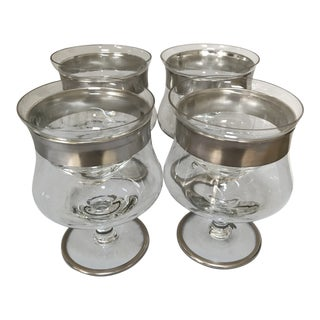 1960s Dorothy Thorpe Shrimp Cocktail Glasses With Inserts - Set of 4 For Sale
