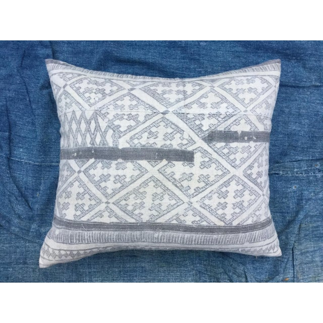 Silver Cross Linen Batik Pillow - Image 2 of 6