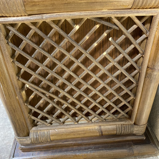 Walnut and Wicker Pagoda Etageres Cabinet For Sale - Image 12 of 13