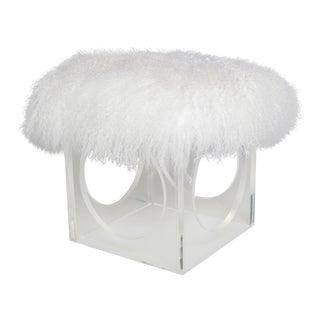 Curly Henri Ottoman, Bright White For Sale