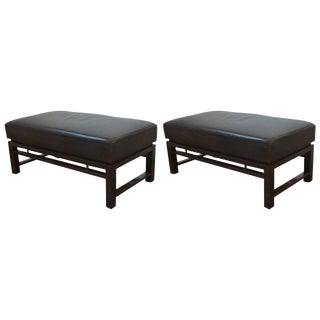 Pair of Rectangular Leather Benches: Edward Wormley for Dunbar 1940s For Sale