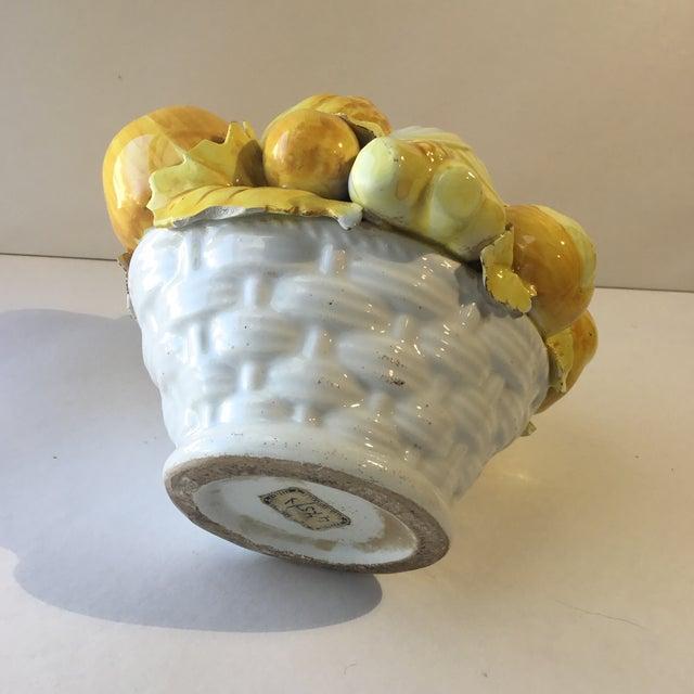 Goldenrod Mid 20th Century Majolica Vegetable Basket For Sale - Image 8 of 13
