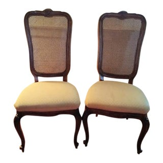 20th Century Georigan Drexel Heritage Rattan High Back Dining Chairs - a Pair For Sale