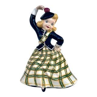 Vintage Porcelain Scottish Girl Dancing Painted Figure by Holland Molds For Sale