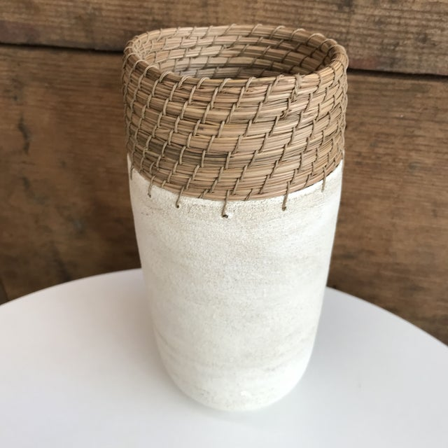 Hand Thrown White Ceramic Vase For Sale - Image 4 of 12