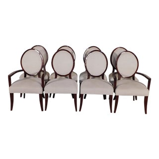 Contemporary Ralph Lauren Home Mahogany Hepplewhite Sabre Leg Dining Chairs - Set of 8 For Sale