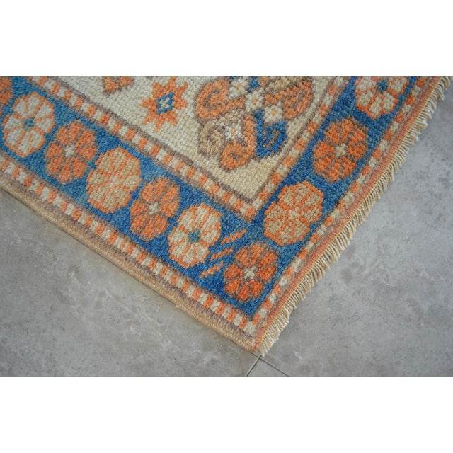 Textile Vintage Low Pile Turkish Rug Hand Knotted Small Area Rug - 3′ X 4′4″ For Sale - Image 7 of 9