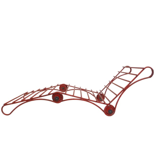 1970s Unusual Architecturally-Inspired Chaise Lounge For Sale - Image 5 of 5