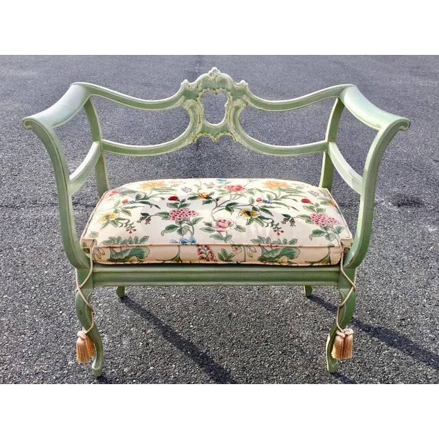 **Final Price** Antique Green French Provincial Carved Wood Small Bench Settee For Sale - Image 11 of 11