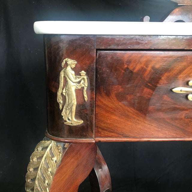 19th Century French Empire Neoclassical Mahogany Dressing Table Vanity For Sale In Portland, ME - Image 6 of 13