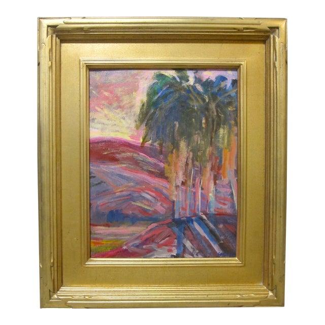 Juan Guzman Rancho Mirage Ca Original Painting Landscape Desert Sunset Palm Tree For Sale