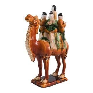 Vintage Ceramic Sancai Camel With Musicians Chinese Tang Style Statue For Sale