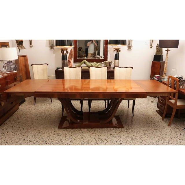 French Art Deco Wooden Rectangular Extension Dining Table