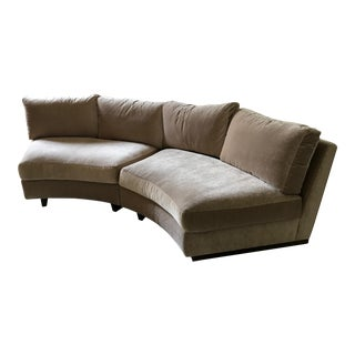 Milo Baughman for Thayer Coggin Semicircular Beige Velvet Armless Sectional Sofa